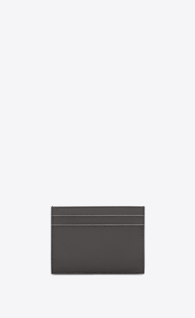 SAINT LAURENT Monogram Woman monogram credit card case in asphalt gray and white textured leather b_V4