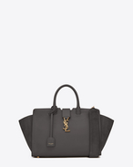 SAINT LAURENT MONOGRAMME TOTE D Small DOWNTOWN YSL leather and suede tote bag in gray suede f