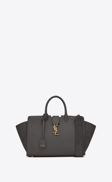 SAINT LAURENT MONOGRAMME TOTE D Small DOWNTOWN YSL leather and suede tote bag in gray suede a_V4