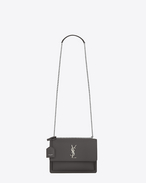 SAINT LAURENT Sunset D Medium SUNSET bag in asphalt gray leather f