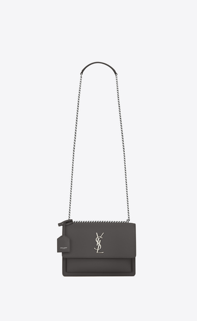 SAINT LAURENT Sunset Damen Mittlere SUNSET Monogram Tasche aus asphaltgrauem Leder a_V4