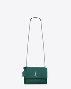 SAINT LAURENT Sunset D Sac Medium SUNSET en cuir vert d'eau f