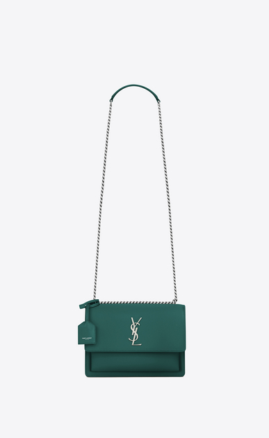 SAINT LAURENT Sunset D Medium SUNSET bag in water green leather a_V4
