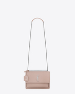 SAINT LAURENT Sunset D Sac Medium SUNSET en cuir rose f