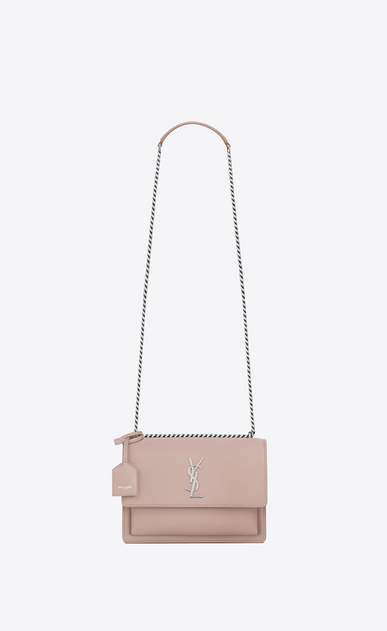 SAINT LAURENT Sunset D Medium SUNSET bag in pink leather a_V4