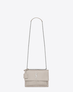 SAINT LAURENT Sunset D Sac Medium SUNSET en cuir brillant embossé façon crocodile beige f