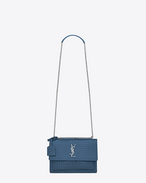 SAINT LAURENT Sunset D Sac Medium SUNSET en cuir brillant embossé façon crocodile bleu denim f