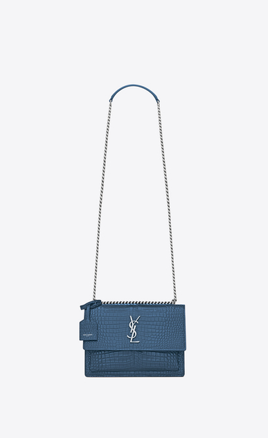 SAINT LAURENT Sunset Femme Sac Medium SUNSET en cuir brillant embossé façon crocodile bleu denim a_V4