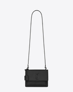 SAINT LAURENT Sunset D Medium SUNSET FES bag in black grained leather f