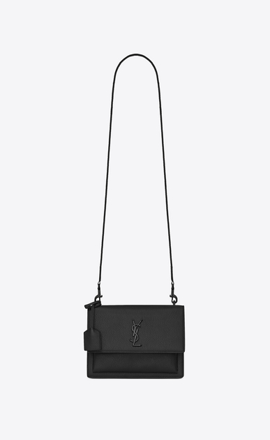 Medium SUNSET FES bag in black grained leather