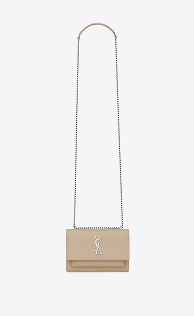 SAINT LAURENT Mini bags sunset Donna Portafogli SUNSET con catena, in pelle color cipria a_V4