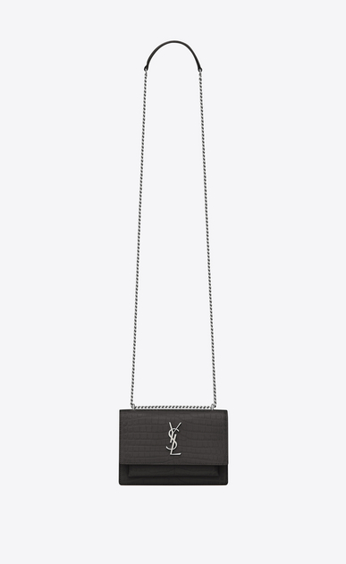 SAINT LAURENT Sunset D SUNSET chain wallet in asphalt gray crocodile-embossed shiny leather a_V4