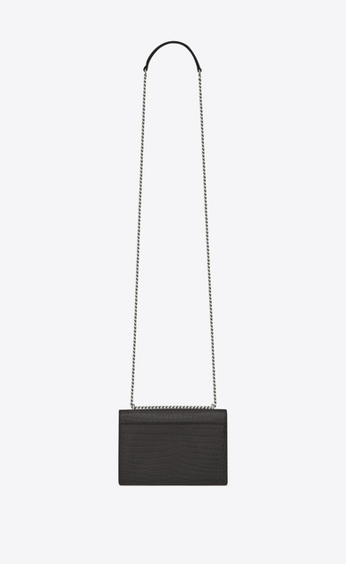 SAINT LAURENT Sunset D SUNSET chain wallet in asphalt gray crocodile-embossed shiny leather b_V4