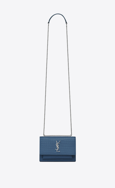 SAINT LAURENT Sunset D SUNSET chain wallet in denim blue crocodile-embossed shiny leather a_V4