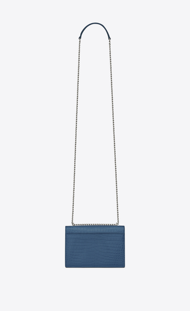 SAINT LAURENT Sunset D SUNSET chain wallet in denim blue crocodile-embossed shiny leather b_V4