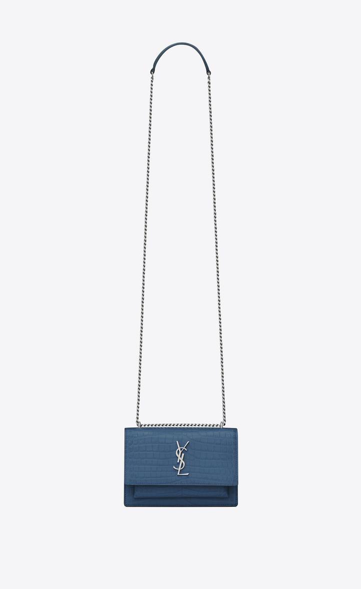 Saint Laurent Sunset Chain Wallet In Crocodile Embossed Shiny ... f7894afb35f59