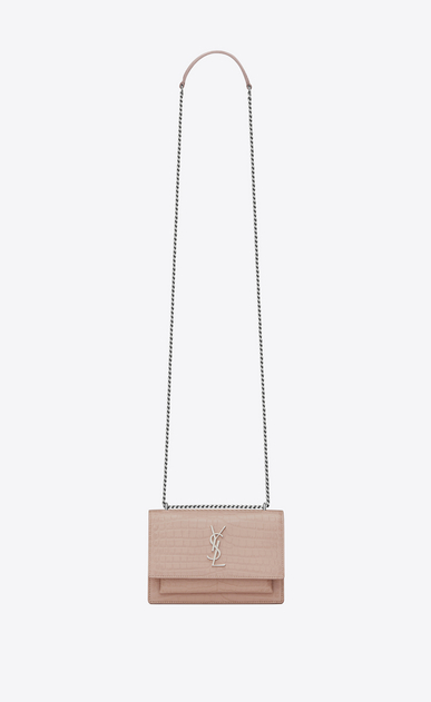 SAINT LAURENT Sunset D SUNSET chain wallet in pink crocodile-embossed shiny leather a_V4