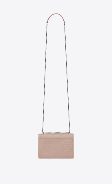 SAINT LAURENT Sunset D SUNSET chain wallet in pink crocodile-embossed shiny leather b_V4