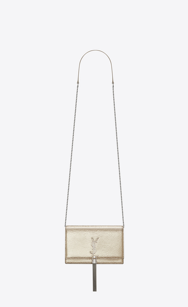 SAINT LAURENT Mini bags Kate D KATE chain and tassel wallet in pale gold and black crinkled leather a_V4