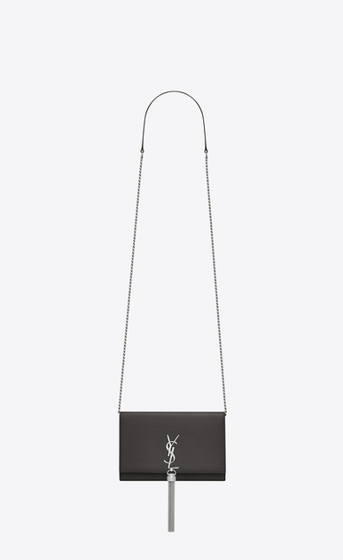 SAINT LAURENT Mini bags Kate Woman KATE chain and tassel wallet in asphalt gray leather a_V4