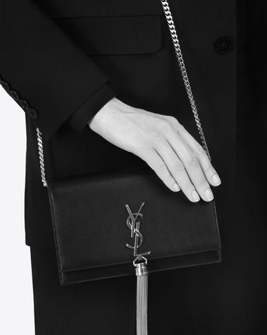 SAINT LAURENT Mini bags Kate Woman KATE chain and tassel wallet in asphalt gray leather y_V4