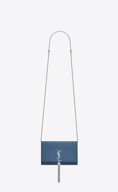 SAINT LAURENT Mini bags Kate D KATE chain and tassel wallet in denim blue smooth leather a_V4