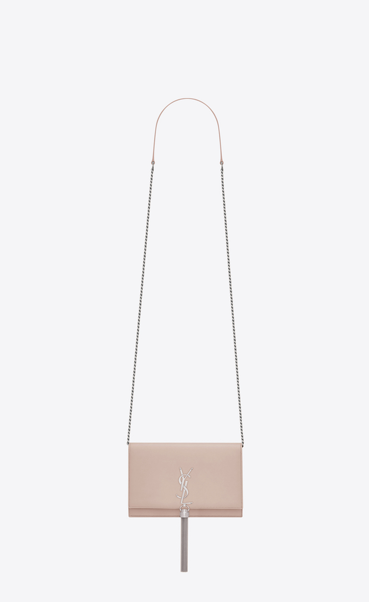Saint Laurent KATE Chain And Tassel Wallet In Pink Leather ... 53d5eed30d96c