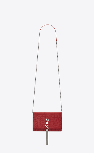 SAINT LAURENT Mini bags Kate Woman KATE chain and tassel wallet in red crocodile-embossed leather a_V4
