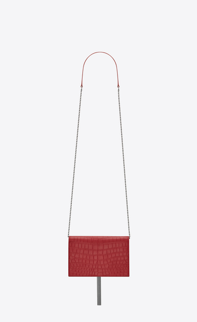 SAINT LAURENT Mini bags Kate Woman Kate chain wallet with tassel in crocodile embossed leather b_V4