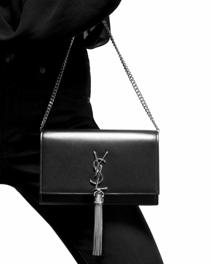Saint Laurent Kate Chain And Tassel Wallet In Red