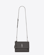 SAINT LAURENT Sunset D Medium SUNSET bag in asphalt gray grained leather f
