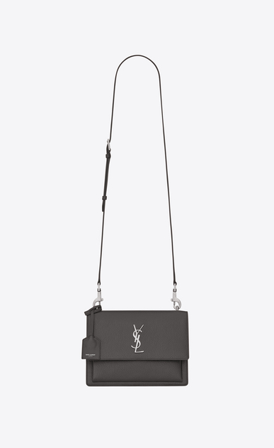 SAINT LAURENT Sunset D Medium SUNSET bag in asphalt gray grained leather a_V4