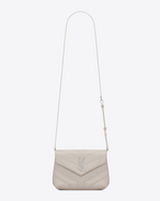 "SAINT LAURENT Monogramme Loulou D LOULOU toy bag in shiny ivory leather with ""Y"" quilting f"