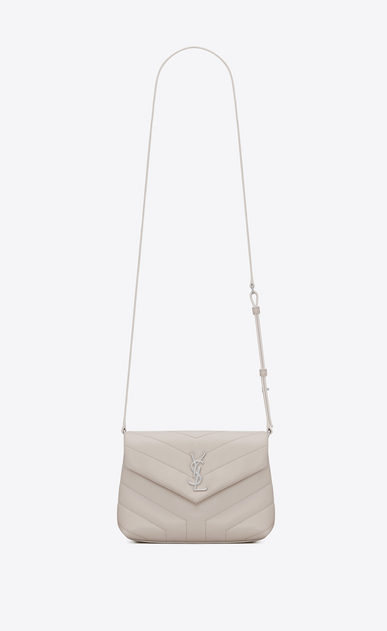 "SAINT LAURENT Monogramme Loulou D LOULOU toy bag in shiny ivory leather with ""Y"" quilting a_V4"