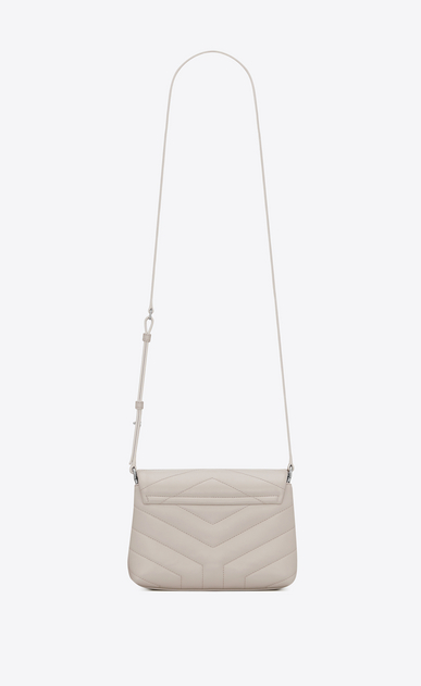"SAINT LAURENT Mini bags Loulou Woman toy loulou strap bag in shiny ivory leather with ""Y"" quilting b_V4"