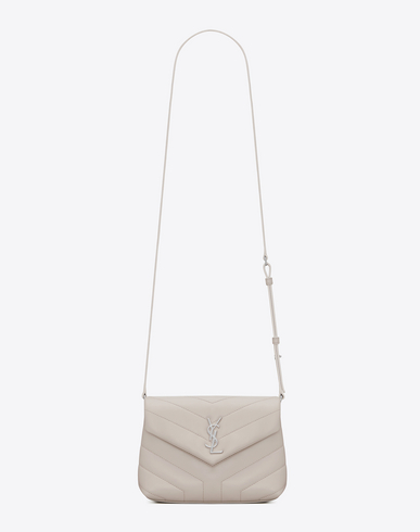 "LOULOU TOY BAG IN SHINY IVORY LEATHER WITH ""Y"" QUILTING"