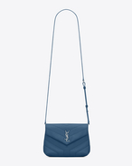 "SAINT LAURENT Monogramme Loulou D LOULOU toy bag in shiny denim blue leather with ""Y"" quilting f"
