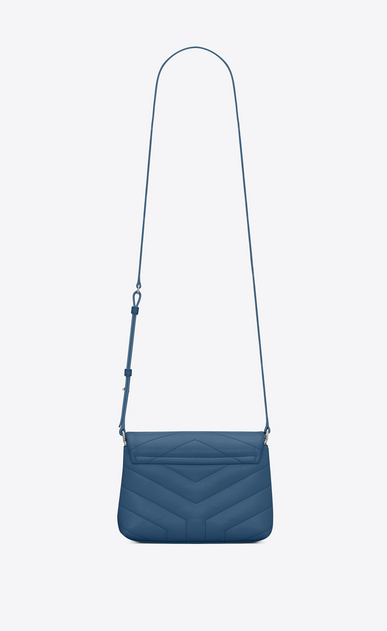 "SAINT LAURENT Monogramme Loulou D LOULOU toy bag in shiny denim blue leather with ""Y"" quilting b_V4"