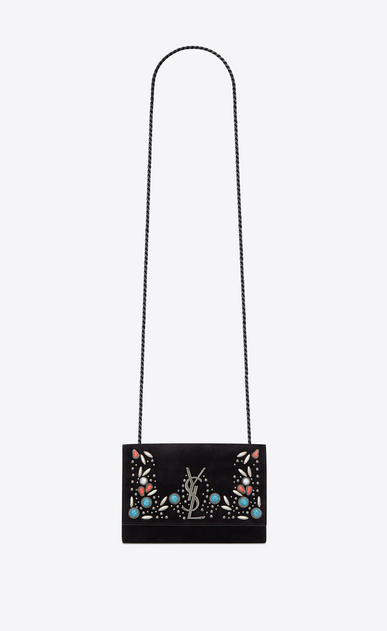 SAINT LAURENT MONOGRAM KATE Woman KATE Berber chain bag in black suede with multicolored beads a_V4