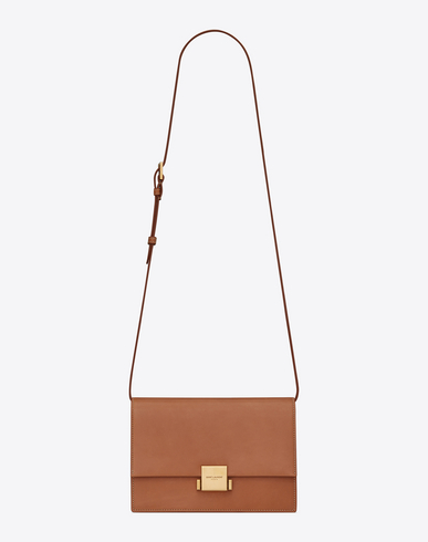 SAINT LAURENT MEDIUM LEATHER BELLECHASSE SATCHEL IN BROWN