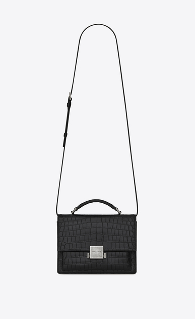 SAINT LAURENT Bellechasse D Medium BELLECHASSE SAINT LAURENT bag in crocodile-embossed matte black leather a_V4