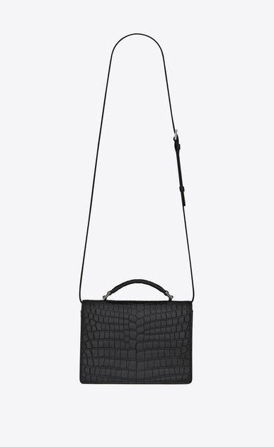 SAINT LAURENT Bellechasse D Medium BELLECHASSE SAINT LAURENT bag in crocodile-embossed matte black leather b_V4