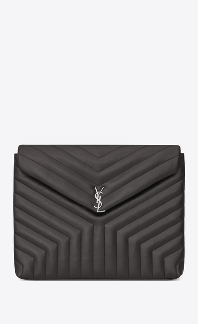 "SAINT LAURENT Loulou SLG Woman LOULOU document holder in shiny asphalt gray leather with ""Y"" quilting a_V4"