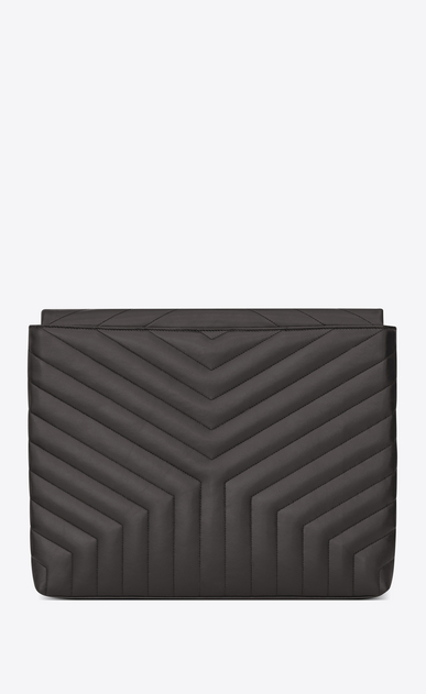 "SAINT LAURENT Loulou SLG Woman LOULOU document holder in shiny asphalt gray leather with ""Y"" quilting b_V4"