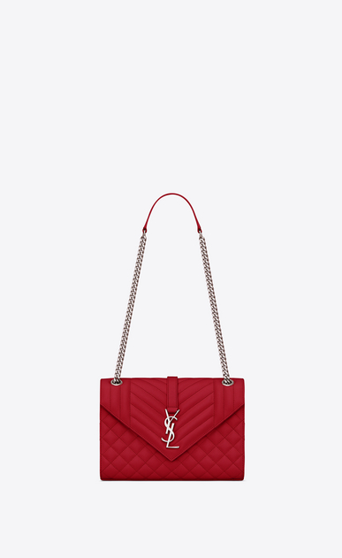 SAINT LAURENT Monogram envelope Bag Woman Medium ENVELOPE bag in quilted and textured red leather a_V4