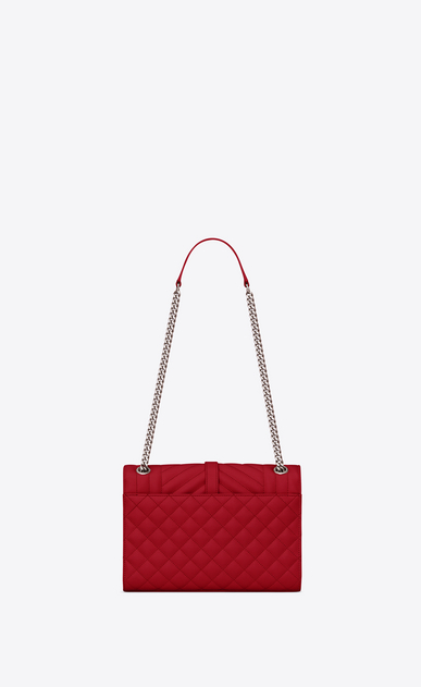 SAINT LAURENT Monogram envelope Bag Woman Medium ENVELOPE bag in quilted and textured red leather b_V4
