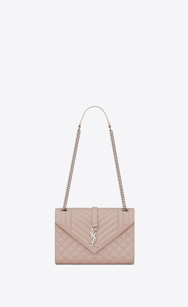 SAINT LAURENT Monogram envelope Bag Woman Medium ENVELOPE bag in quilted and textured pink leather a_V4
