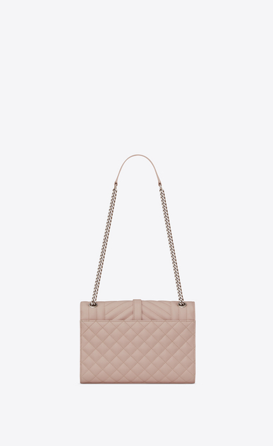 SAINT LAURENT Monogram envelope Bag Woman Medium ENVELOPE bag in quilted and textured pink leather b_V4