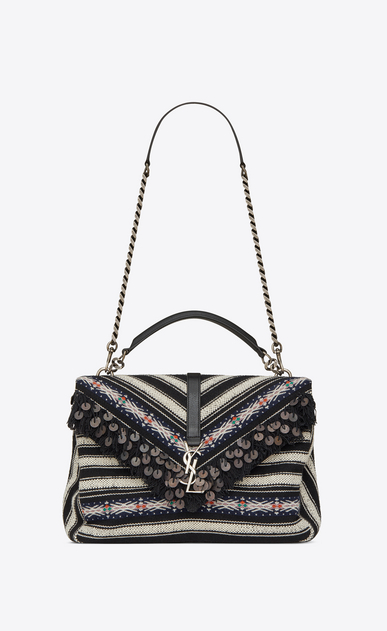 SAINT LAURENT Monogram College Woman Large COLLEGE bag in black and white Berber cloth a_V4