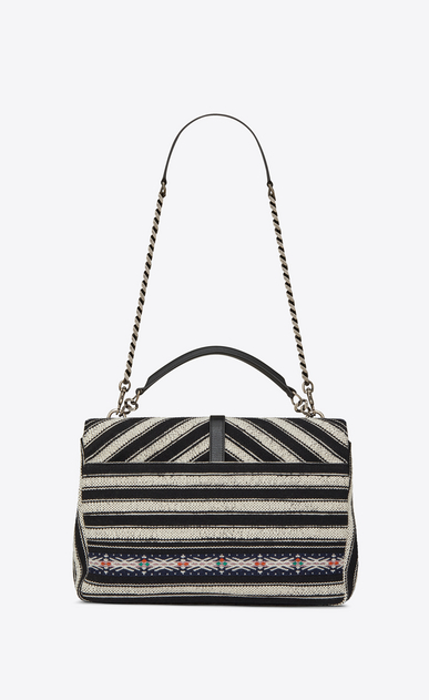 SAINT LAURENT Monogram College Woman Large COLLEGE bag in black and white Berber cloth b_V4